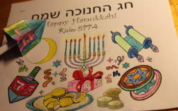 Preparing for Hanukkah: Colour your Hanukkah card & make you own holiday dreidel