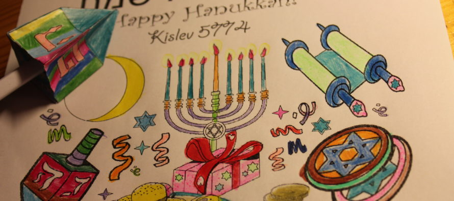 Preparing for Hanukkah: Colour your Hanukkah card & make you own holiday dreidel