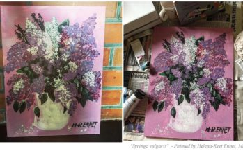 "#4 Paintings by Helena-Reet Ennet: ""Syringa vulgaris"", May 2019 + 2 step by step tutorial videos ""How to draw Lilacs""!"