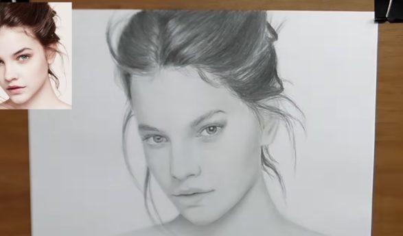 VIDEO tutorials: How to pencil draw realistic portrait + hair, eyes, lips drawing and shading