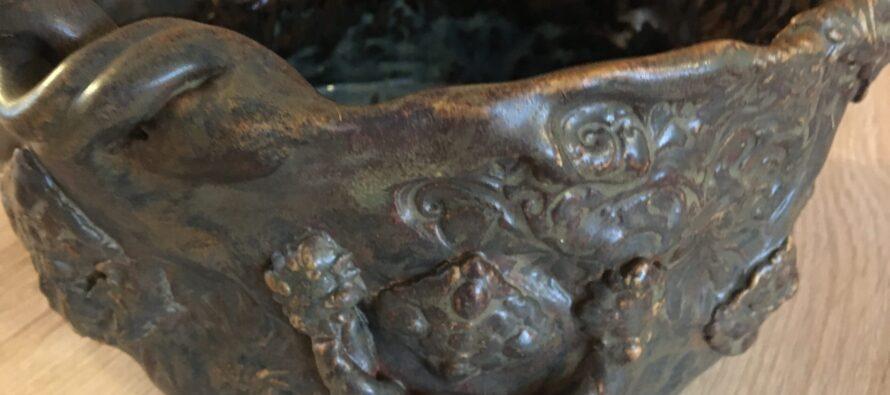 Ceramics by Helena-Reet: Massive brown clay bowl / flowerpot (VOL1)